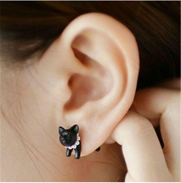 1Pc Black Punk Cool Simple Stereoscopic Cat Kitten Impalement Lady Stud Earring