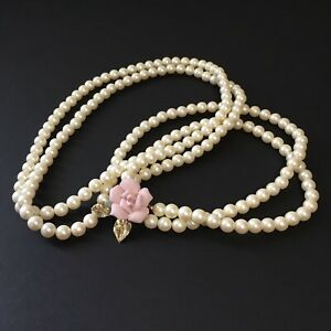 Pretty Double Strand Vintage PINK Faux Pearl Crystal Bead Necklace FREE Ship