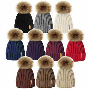 791022e476f Image is loading LADIES-WOMENS-WINTER-KNITTED-BEANIE-SKI-HAT-DETACHABLE-