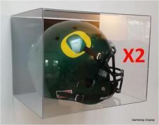 ACRYLIC WALL MOUNT FOOTBALL HELMET DISPLAY CASE Lot of 2 NFL NCAA FULL SIZE A
