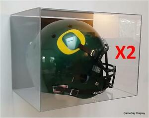 09b15137 ACRYLIC WALL MOUNT FOOTBALL HELMET DISPLAY CASE Lot of 2 NFL NCAA ...