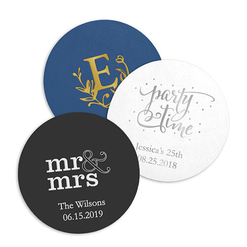 100 Personalized Round Paper Coasters - Wedding Anniversary Birthday Favors