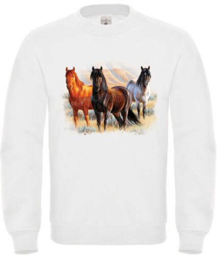 Sudadera en Blanco con un Caballos Animal Motivo de Naturaleza Modelo Three
