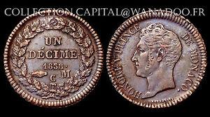 Un-Decime-1838-MC-Monaco-Honore-V-Flan-large-grosse-tete-Cote-SUP-300