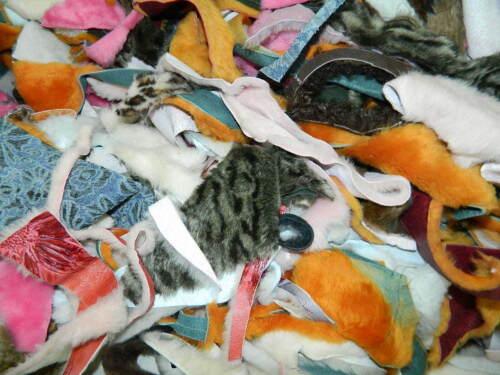 1 POUND MULTI-COLOR PINK ORANGE FASHION Sheepskin Craft Pieces Scraps FLOWER