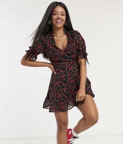 Wednesday/'s Girl Dress Size 8,10,18,22 /& 26 Wrap Black In Cherry Print NEW GP86