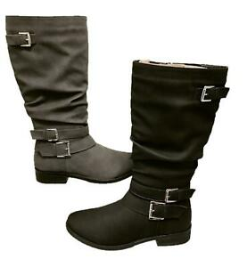 WOMENS-LADIES-BUCKLE-ZIP-UP-LOW-HEEL-MID-CALF-UNDER-KNEE-BOOTS-SHOES