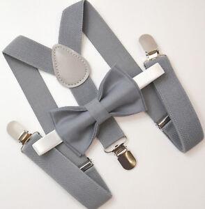 Kids-Boys-Mens-Baby-Gray-Suspenders-amp-Gray-Bow-tie-Infant-ADULT-Wedding-SET