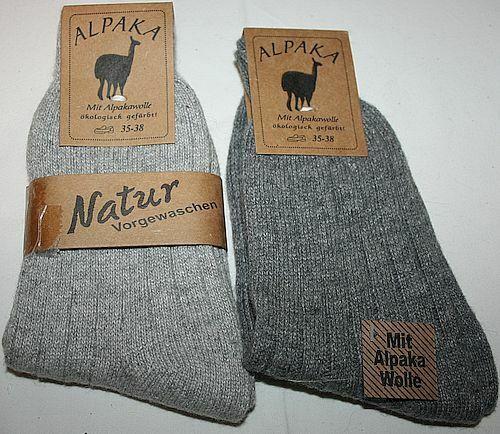 35-38 1202195 2er Pack Wollsocken unisex 92/% Alpakawolle 2 Grautöne Gr