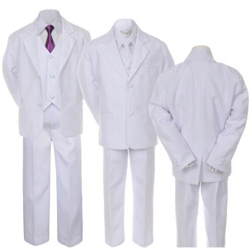6pc Boy Teen Formal Wedding Party White Tuxedo Suit Vest Sets Satin Necktie 5-20