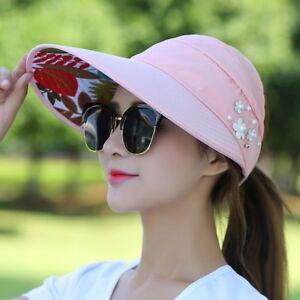 Women Lady Visor Hat Summer Sun Beach Ladies Foldable Roll Up Wide ... 6db68d9b7679