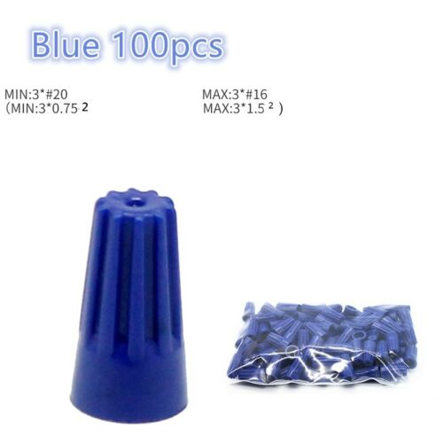 100 PCS Blue Wire Connector Easy Twist-On Ribbed Cap For Wire Terminal Connector