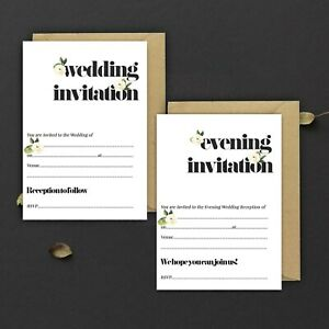 WEDDING-INVITATIONS-BLANK-BLACK-amp-IVORY-ROSE-DAY-amp-EVE-PACKS-OF-10