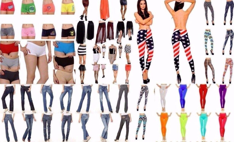 Wholesale Lot 40 Pcs WOMEN Mixed Jeans Legging Pants Shorts Skirts Apparel S M L