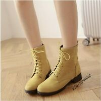 Ladies Fashion Shoes Faux Suede Block Heel Lace Up Round Toe Ankle Boots Size UK