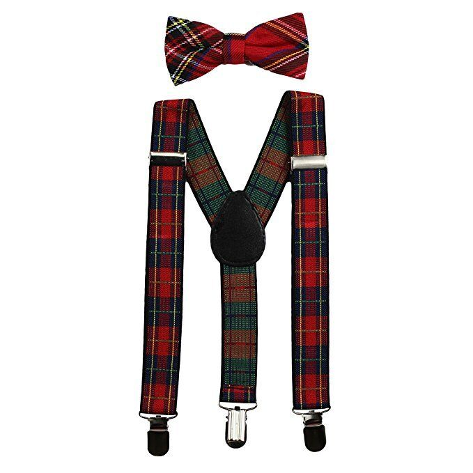 NEW Red Plaid Kids Baby Suspenders and Bow Tie Set Elastic Adjustable