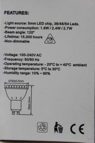 RS Branded GU10 48 chip LED Bulb Lamp 2.4w 4200k cool white 59mm long 180lm