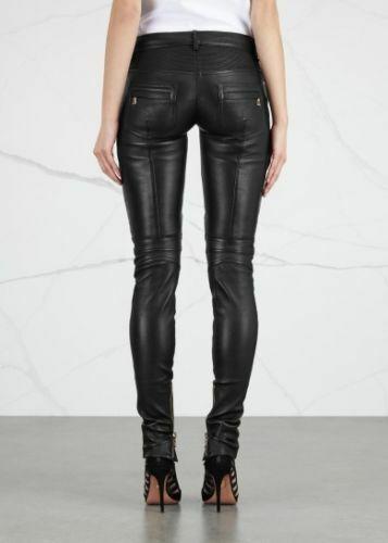 Women Real Lambskin Leather Biker Pants  Trousers Slim fit Leggings