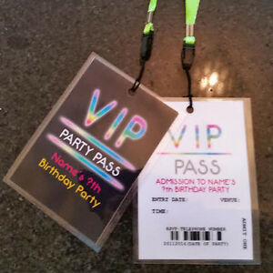Details About Personalised VIP Neon Glow In The Dark Party Lanyard New Year Invites