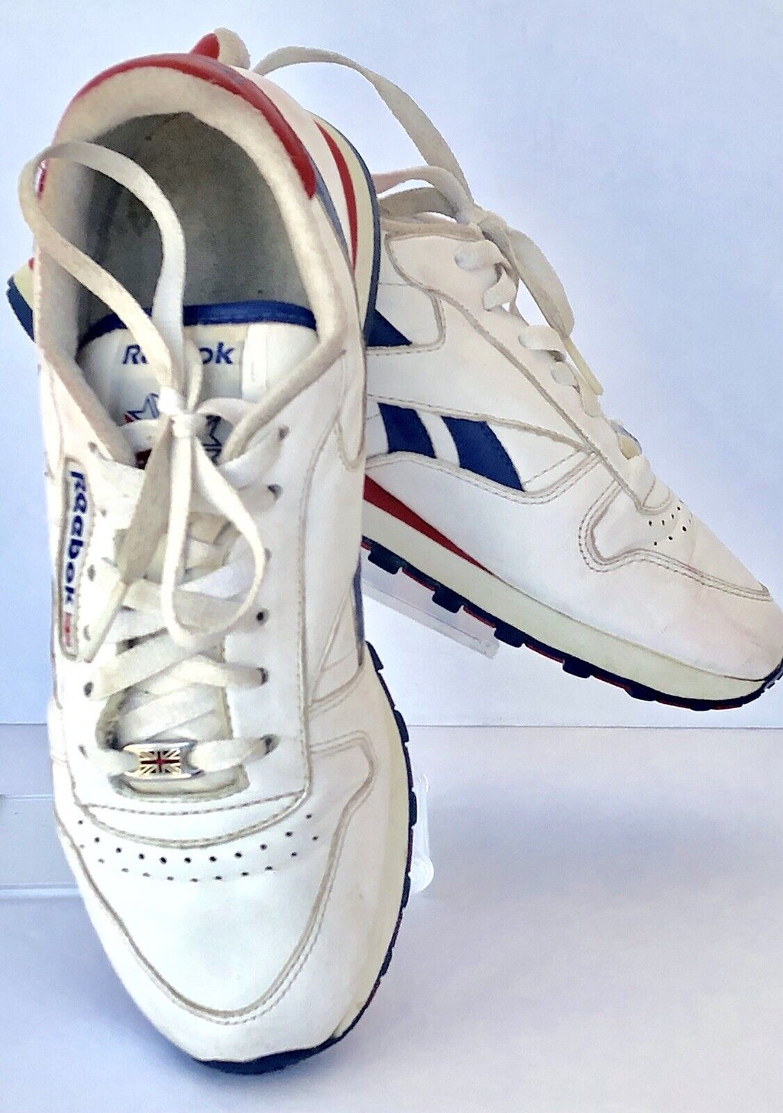 Womens Vintage Reebok White Classic Leather Sneakers Union Jack Laces 80s Size 7