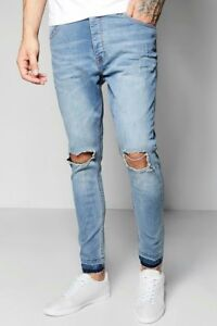c0ab919352d6 Image is loading Boohoo-Mens-Pale-Blue-Skinny-Fit-Ripped-Knee-
