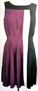 Cynthia-Rowley-Women-039-s-Dress-Black-Purple-White-Size-6-Pleated-A-Line-VGC