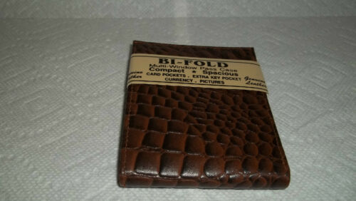 New in Pkg Leather Brown MOKA Men Bifold Compact Spacious Wallet