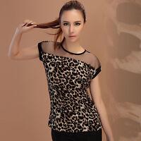 Sexy Women Leopard Animal Print Top Chiffon Shirt Casual Blouse Collared CCC Hot
