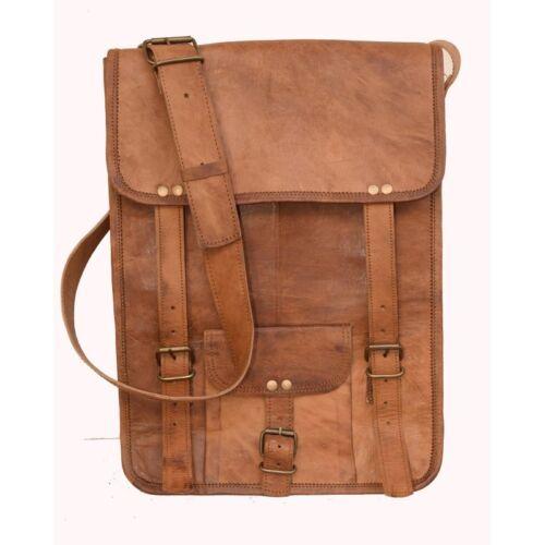 """15/"""" Men/'s Retro Brown Real Leather Messenger Shoulder Bag Laptop Case Briefcase"""