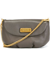$258 Marc by Marc Jacobs New Q Karlie Leather Chain Crossbody Bag Aluminum Gray