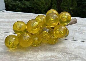 Vintage-Lucite-Acrylic-Grape-Cluster-Yellow-Gold-Bubble-Mid-Century-Retro