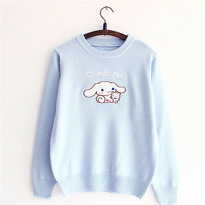 Mori Girl Cinnamoroll Broderie KAWAI KNIT Preppy Winter Cotton Sweater