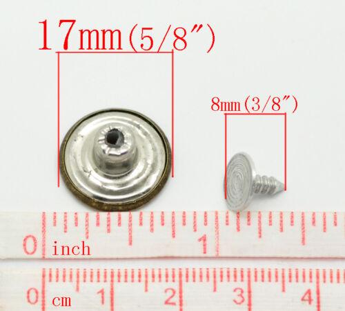 Boutons pression pour jeans vieux bronzé en métal 6 sets 17 mm