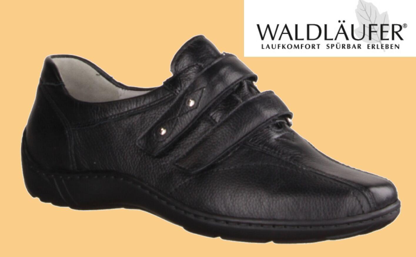 Waldläufer Damen Halbschuhe Slipper Klettschuhe schwarz PRO AKTIV Komfort Schuhe schwarz Klettschuhe 4e4a8e
