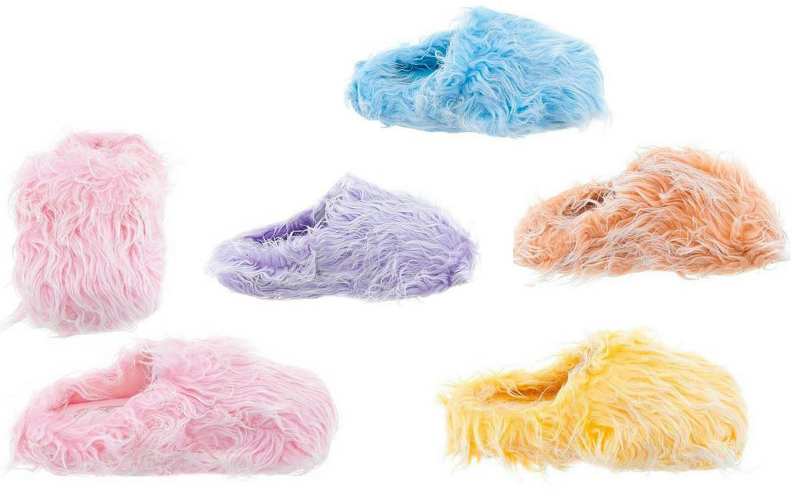 Pink Fuzzy Blue Purple Yellow Furry Fuzzy Pink Slippers NEW with Marks on Soles PLEASE READ 037371