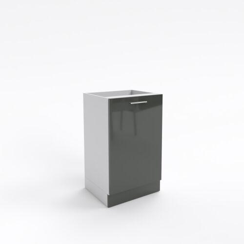 Küchenschrank 1 Türig dunkelgrau Hochglanz 30-70 cm Sockel  tiefe 55 soft close