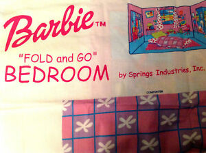 BARBIE-DOLL-Fold-and-Go-Bedroom-Fabric-Panel-36-x-60-New