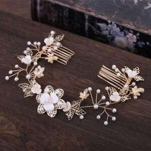 Bride-Flower-Leaf-Hair-Comb-Wedding-Crystal-Pearl-Clip-Slide-Tiara-Headwear