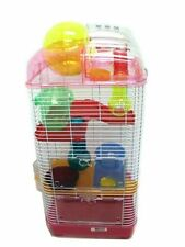 YML 3 Level Clear Plastic Dwarf Hamster- Mice Cage with Ball on Top- Pink
