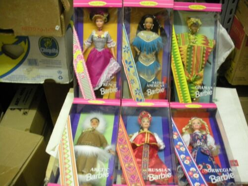 BARBIE 6 DOLLS OF THE WORLD FRENCH ARCTIC GHANIAN ETC  1995-6 MATTEL NRFB