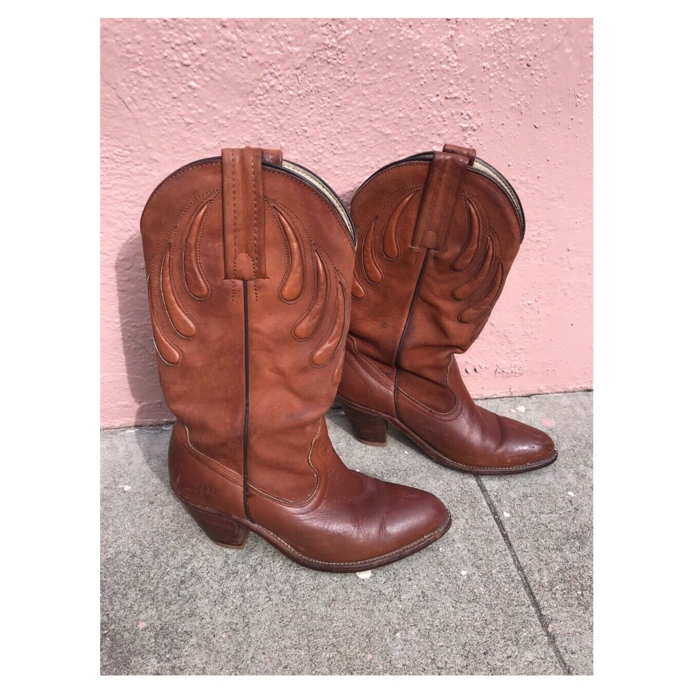 Frye Cowboy Boots Stacked Heel