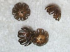 VINTAGE OPEN CUT WORK FINE FILIGREE BRASS BEAD CAPS FINDINGS   12 PCS