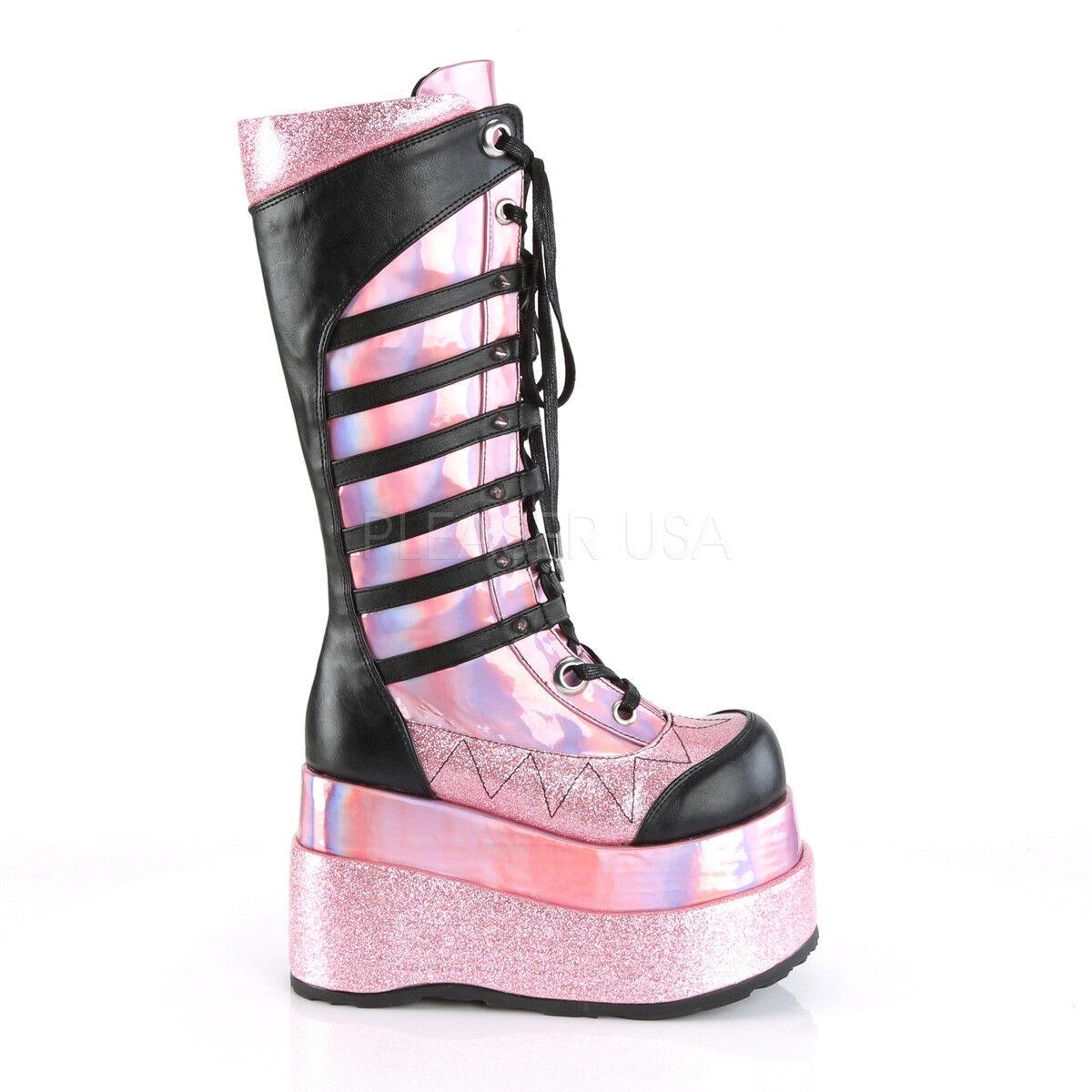 Demonia 4.5  Platform Vegan Pink Blk Hologram Glitter Spike Knee Boots Goth 6-12