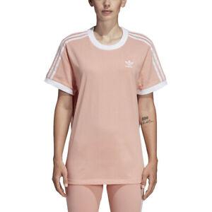Adidas Originals Women's 3-Stripe Tee Dust Pink Shirt DV2583 NEW ...