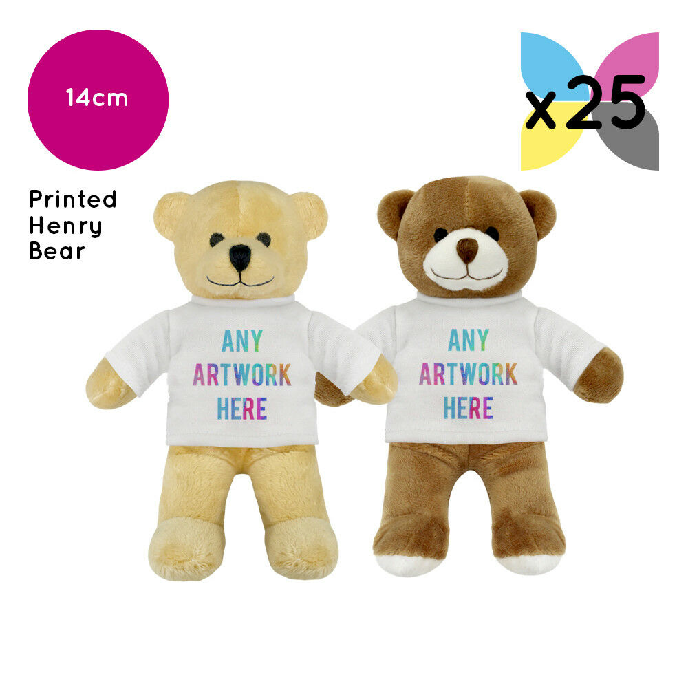 25 Personalised Henry Teddy Bears Promotional Logo Text Photo Printing Bulk