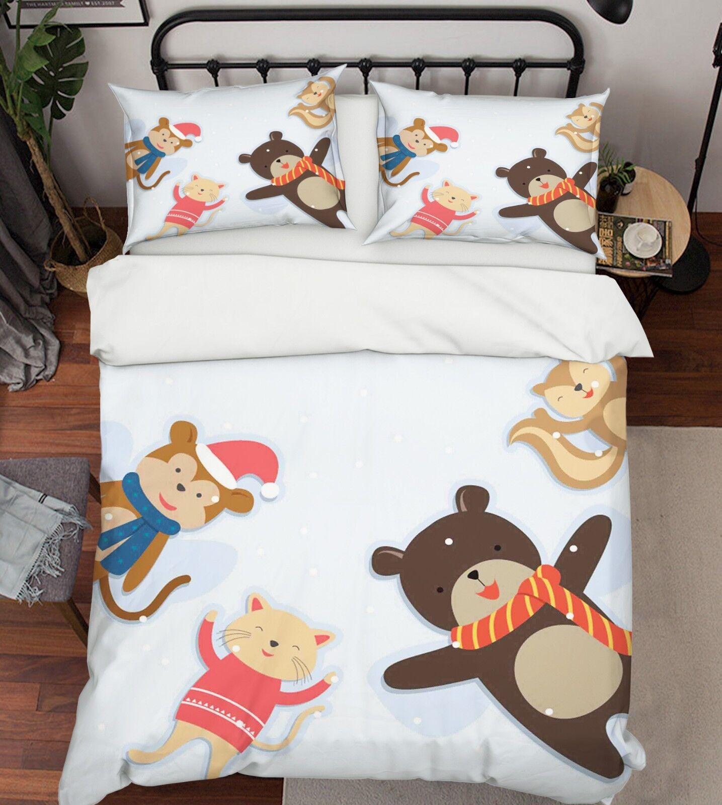 3D Winter Animal 687 Bed Pillowcases Quilt Duvet Cover Set Single King UK Lemon