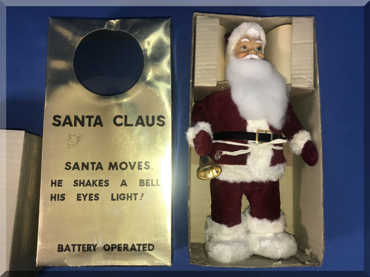 BATTERY OPERATED 1960s 1960s 1960s TIN TOY MADE IN JAPAN A SANTA CREATION X EYES LIGHT f767f9