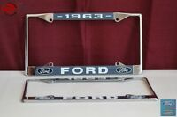 1963 Ford Car Pick Up Truck Front Rear License Plate Holder Chrome Frames