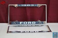 1963 Ford Car Pick Up Truck Front Rear License Plate Holder Chrome Frames