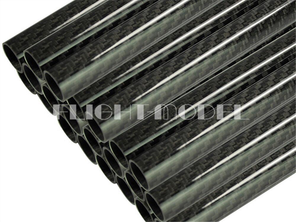2pcs 3K autobon Fiber Tube Roll OD20mmID 18mm1000mm Length Glossy Glossy Glossy Surface FM e45419